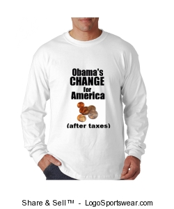 Obama's CHANGE after taxes long sleeve shirt Design Zoom